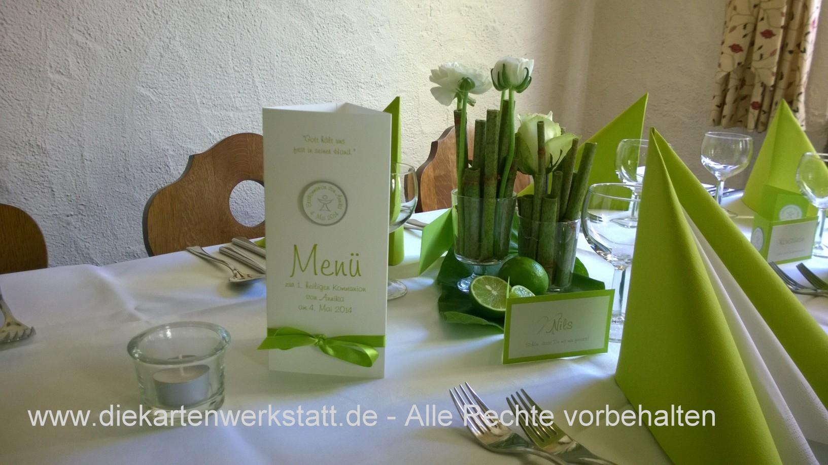 Kommuniondeko in maigrün - Die Kartenwerkstatt - aus Liebe ...